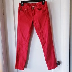 J. CREW red toothpick skinny jeans 26 ankle